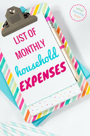 how to create a realistic household budget money matters list of monthly household expenses for a basic monthly budget