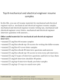 electrical engineer resume example top8mechanicalandelectricalengineerresumesamples 150614090017 lva1 app6891 thumbnail 4 jpg cb 1434272462