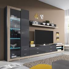 wall unit display cabinet luna high gloss led tv wall unit
