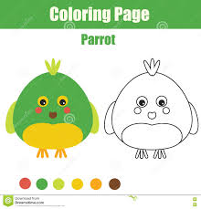 coloring page with parrot educational children game printable