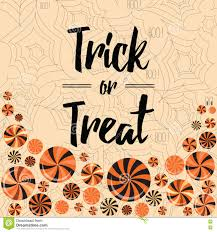 halloween trick or treat banner design with bright lollipops stock