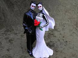 day of the dead wedding cake topper rock vs country wedding