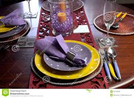 Table Place Settings by Yellow And Purple Table Place Setting Stock Photo Image 33142590