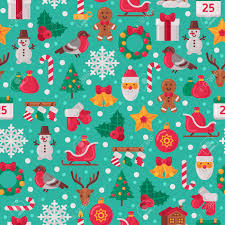 flat christmas wrapping paper seamless pattern with christmas flat icons vector illustration