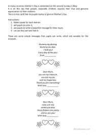 mother s day card worksheet free esl printable worksheets made