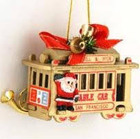 buy san francisco cable car ornament 3 inch gold wood in