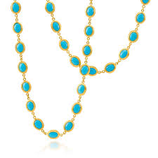 turquoise gold necklace images Ara 24k yellow gold long turquoise necklace desires by mikolay jpg