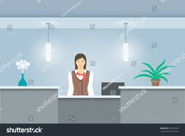 Office Table Front View Young Woman Receptionist Uniform Stands Reception Stock Vector