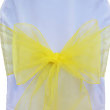 yellow chair sashes canary yellow organza chair sashes chair bows chair ribbons