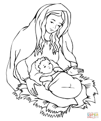 mary looking over jesus coloring page free printable coloring pages