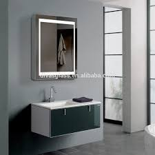 modern brown unfinished wooden bathroom cabinet with sliding door