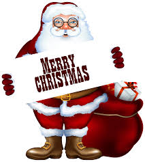 santa claus with merry label png clipart image