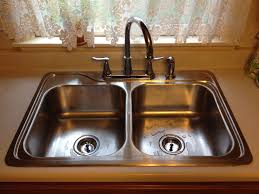 Double Kitchen Sink Fascinating Wooden Kitchen Cabinet With Double Bowl Drop In