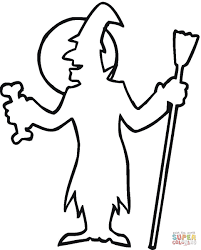 halloween witch outline coloring page free printable coloring pages