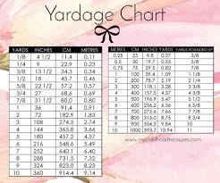 yardage conversion printable chart yards in cm meters treasurie