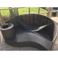 modway u0027taiji u0027 outdoor wicker patio daybed with ottoman and