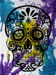 halloween sugar skull 8x10 art print melted crayon candy skull