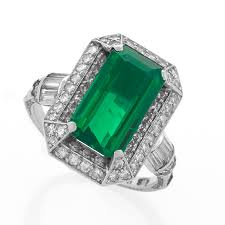 deco emerald diamond and platinum ring