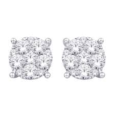 flower stud earrings 14k white gold 1 ct tw diamond flower stud earring unclaimed diamonds