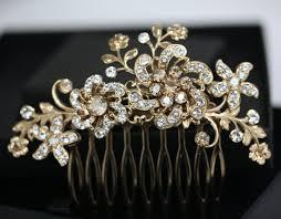 gold hair accessories gold flower hair comb bridal headpiece in swarovski