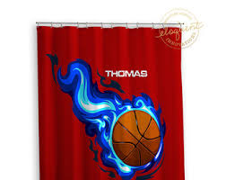 Basketball Curtains Sport Shower Curtain Etsy