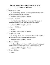 Dinner Party Agenda - 2011 schedule