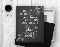 beautiful home william morris quote typography art print home
