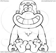 mailman coloring pages cartoon clipart of a black and white sitting orangutan monkey