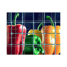 Chili Pepper Kitchen Rugs Lmt Tile Murals Peppers Kitchen Tile Mural In Multi Colored
