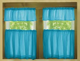 Kitchen Cafe Curtains Solid Blue Tint Turquoise Cotton Kitchen Tier Cafe Curtains