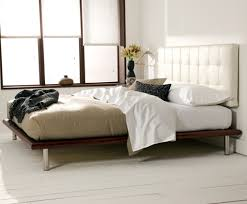Platform Bed White Mies Platform Bed White Leather Headboard Charles P Rogers