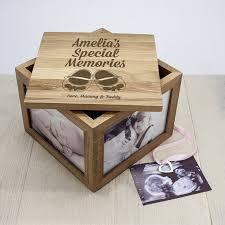 keepsake box personalised new baby oak photo keepsake box buy from prezzybox
