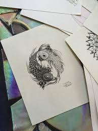 items similar to original artwork print koi fish yin yang