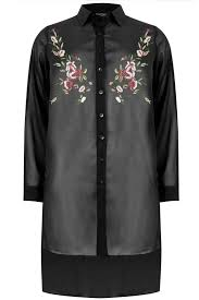 black sheer blouse black sheer longline shirt with embroidery detail hem plus