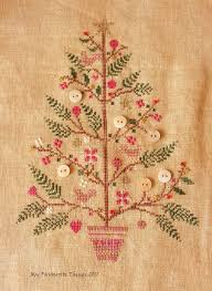 christmas tree with button ornaments cross stitch pinterest