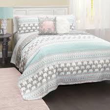 lush decor elephant stripe 5 quilt set 5