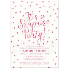 surprise birthday party invitations pink watercolor triangle