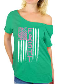 Breast Cancer Flags Breast Cancer Fight Off The Shoulder Tops T Shirts Usa Flag