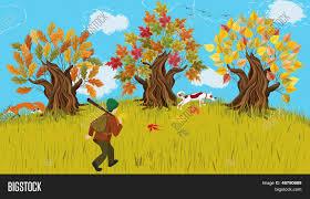 imagenes animadas de otoño vector y foto otoño paisaje de dibujos animados bigstock