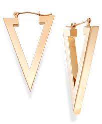 triangle earrings triangle hoop earrings in 14k gold earrings jewelry watches