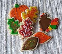 thanksgiving cookies turkeys leaves and pumpkins oh my