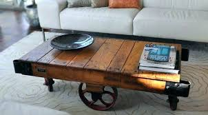 Rustic Coffee Table On Wheels Coffee Table With Wheels Rustic Coffee Tables Vintage Industrial