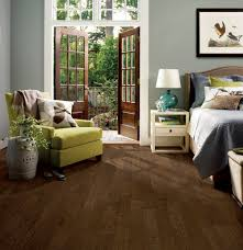 Laminate Flooring Dark Wood Light Grey Walls With Dark Wood Floor In Bedroom With Yellow And