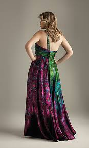 night moves plus size peacock dress one shoulder front view