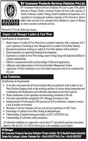 bureau veritas vacancies deputy lab manager lab technician in bureau veritas lahore