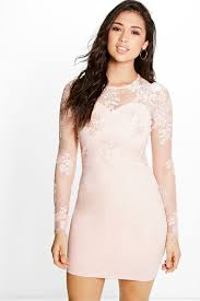boutique mel corded lace long sleeve bodycon dress boohoo
