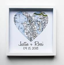 unique wedding gifts heart map framed map heart wedding gifts for