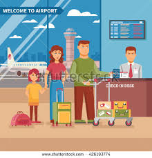 airport work poster family check desk stock vector 426193774