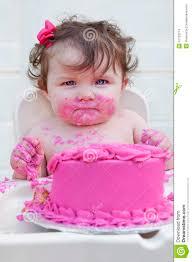 baby girl birthday closeup of a baby girl 1st birthday c stock photo