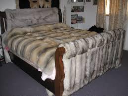 Faux Fox Fur Throw My Twin Size Royal Saga Blue Fox Blanket On Headboard With The